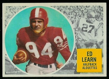1960 Topps CFL #44 - Ed Learn - exmt