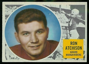 1960 Topps CFL #51 - Ron Atchison - exmt