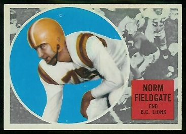 1960 Topps CFL #6 - Norm Fieldgate - ex+