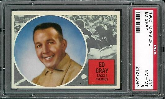 1960 Topps CFL #14 - Ed Gray - PSA 8
