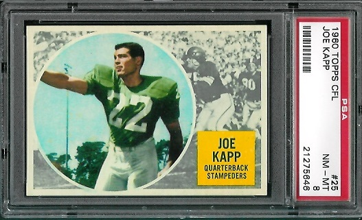 1960 Topps CFL #25 - Joe Kapp - PSA 8