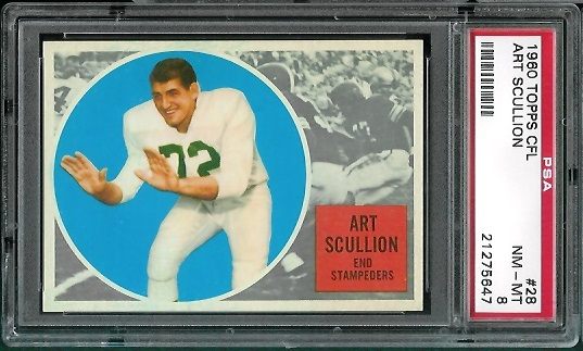 1960 Topps CFL #28 - Art Scullion - PSA 8