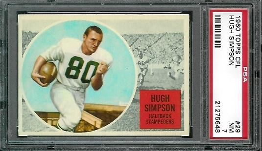 1960 Topps CFL #29 - Hugh Simpson - PSA 7