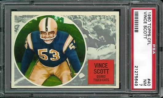 1960 Topps CFL #40 - Vince Scott - PSA 7