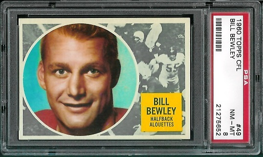 1960 Topps CFL #49 - Bill Bewley - PSA 8