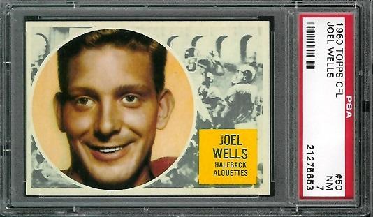 1960 Topps CFL #50 - Joel Wells - PSA 7