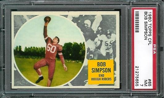 1960 Topps CFL #65 - Bob Simpson - PSA 7