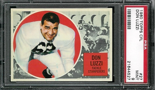 1960 Topps CFL #27 - Don Luzzi - PSA 9
