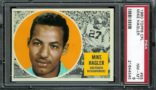 1960 Topps CFL #55 - Mike Hagler - PSA 8