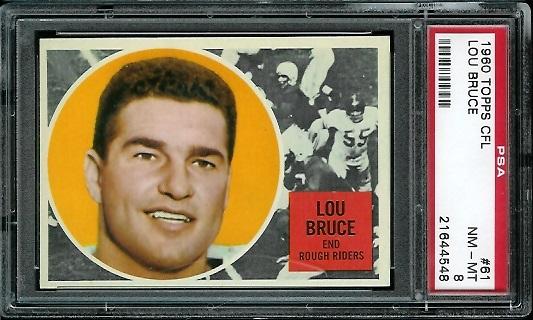 1960 Topps CFL #61 - Lou Bruce - PSA 8