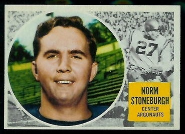 1960 Topps CFL #77 - Norm Stoneburgh - nm+ oc