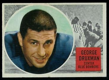 1960 Topps CFL #79 - George Druxman - exmt
