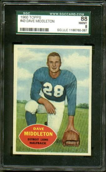 1960 Topps #43 - Dave Middleton - SGC 88