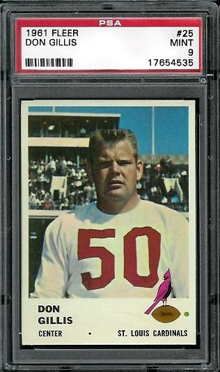 1961 Fleer #25 - Don Gillis - PSA 9