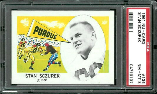 1961 Nu-Card #136 - Stan Sczurek - PSA 8