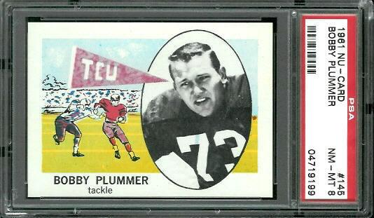1961 Nu-Card #145 - Bobby Plummer - PSA 8
