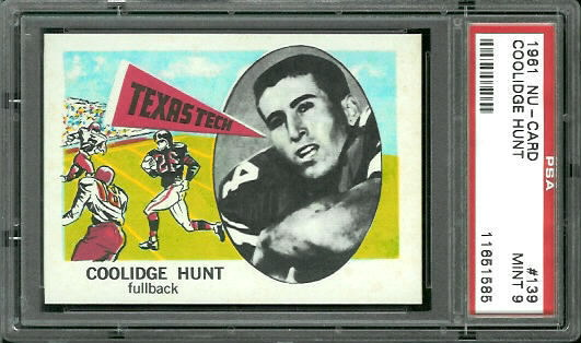 1961 Nu-Card #139 - Coolidge Hunt - PSA 9