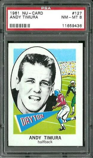 1961 Nu-Card #127 - Andy Timura - PSA 8