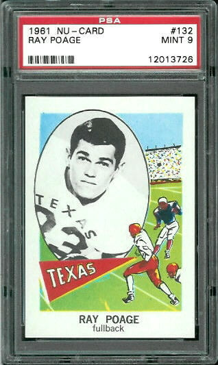 1961 Nu-Card #132 - Ray Poage - PSA 9