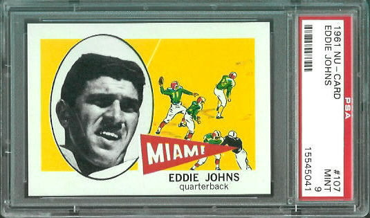 1961 Nu-Card #107 - Eddie Johns - PSA 9