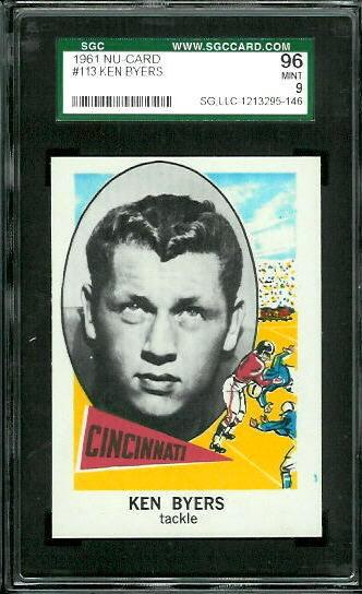 1961 Nu-Card #113 - Ken Byers - SGC 96