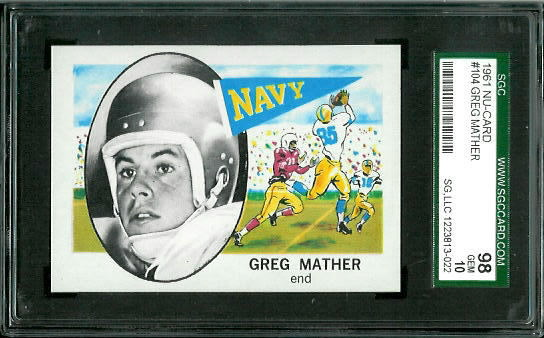 1961 Nu-Card #104 - Greg Mather - SGC 98