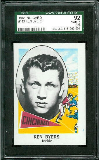 1961 Nu-Card #113 - Ken Byers - SGC 92