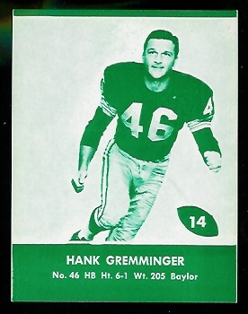 1961 Packers Lake to Lake #14 - Hank Gremminger - nm+