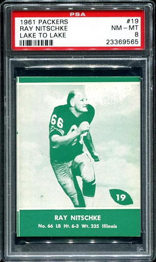 1961 Packers Lake to Lake #19 - Ray Nitschke - PSA 8