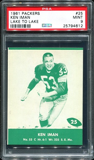 1961 Packers Lake to Lake #25 - Ken Iman - PSA 9