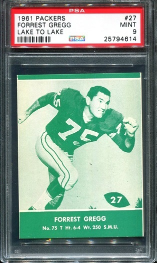 1961 Packers Lake to Lake #27 - Forrest Gregg - PSA 9