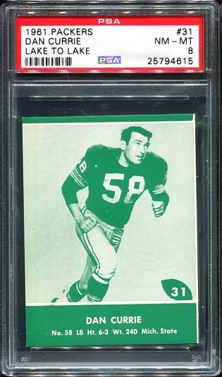 1961 Packers Lake to Lake #31 - Dan Currie - PSA 8