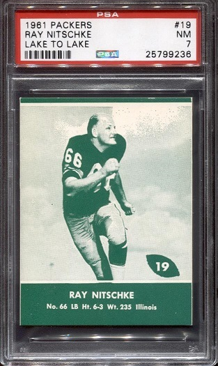 1961 Packers Lake to Lake #19 - Ray Nitschke - PSA 7