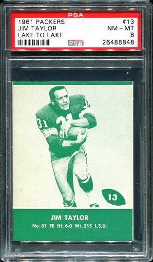 1961 Packers Lake to Lake #13 - Jim Taylor - PSA 8