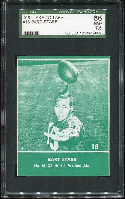 1961 Packers Lake to Lake #18 - Bart Starr - SGC 7.5