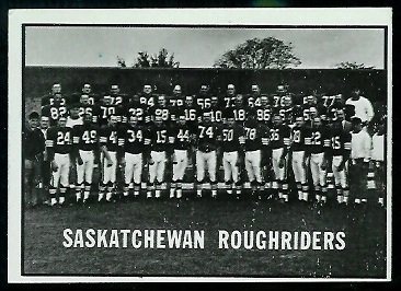 1961 Topps CFL #101 - Saskatchewan Roughriders Team - ex