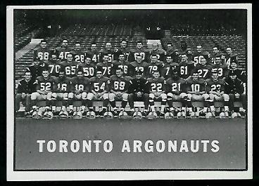 1961 Topps CFL #117 - Toronto Argonauts Team - exmt
