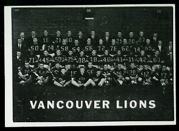 1961 Topps CFL #15 - B.C. Lions Team - nm+ oc