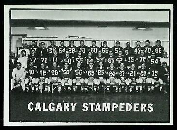 1961 Topps CFL #29 - Calgary Stampeders Team - exmt