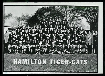 1961 Topps CFL #58 - Hamilton Tiger-Cats Team - nm oc