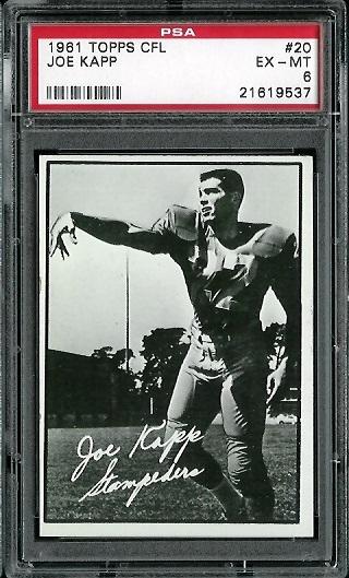 1961 Topps CFL #20 - Joe Kapp - PSA 6