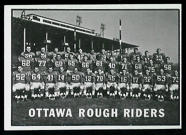1961 Topps CFL #88 - Ottawa Rough Riders Team - exmt