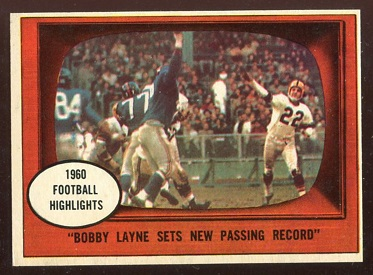 1961 Topps #113 - Bobby Layne Sets New Passing Record - exmt