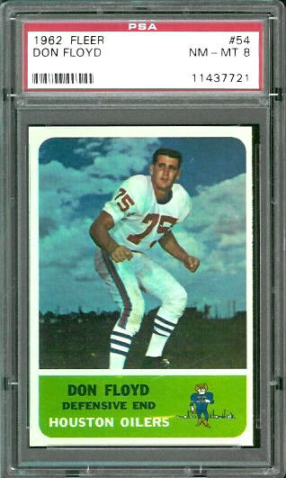1962 Fleer #54 - Don Floyd - PSA 8