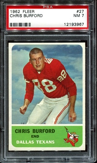 1962 Fleer #27 - Chris Burford - PSA 7