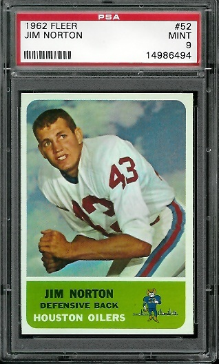 1962 Fleer #52 - Jim Norton - PSA 9