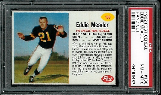 1962 Post Cereal #168 - Ed Meador - PSA 8