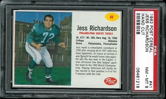 1962 Post Cereal #41 - Jesse Richardson - PSA 8