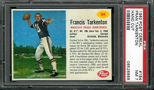 1962 Post Cereal #184 - Fran Tarkenton - PSA 7