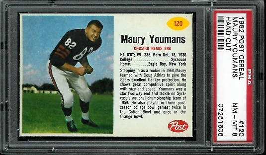 1962 Post Cereal #120 - Maury Youmans - PSA 8